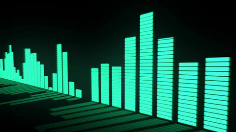 3D animation: Music control levels. Glow green - blue turquoise color audio equa Animation