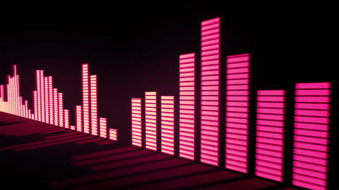 Glow red - pink orange color audio equalizer bars Animation