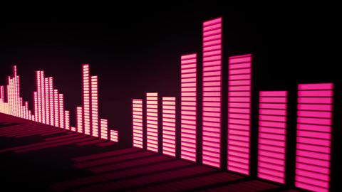 Glow red - pink orange color audio equalizer bars CG動画素材