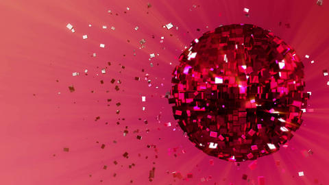 3d abstract looped animated background: pulsating spinning glow disco ball compo Animation