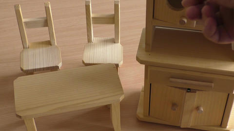 Miniature wooden toy furniture for children Stock Video Footage