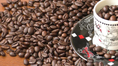 Coffee beans, coffee beans on wooden table, coffee beans background Footage