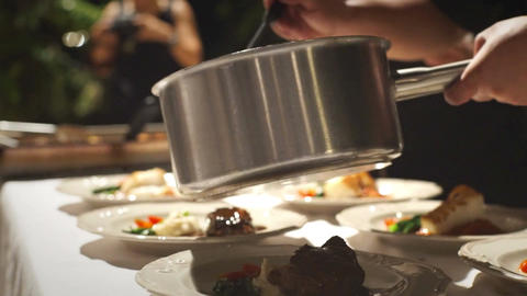 Selective Focus: Chef working in commercial kitchen Footage