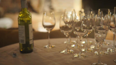 Wine glasses on a Table Footage