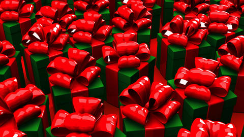 Christmas Gift Boxes On Red Background CG動画