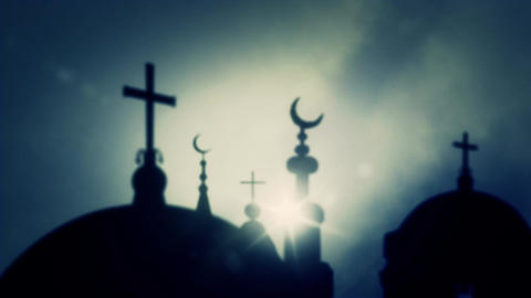 Islam Crescent of Mosques And Crosses of Churches on a Cloudy Sky Background Image