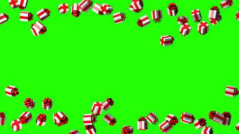 Gift Boxes On Green Chroma Key Animation