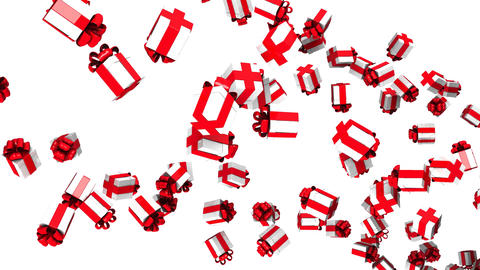Gift Boxes On White Background CG動画