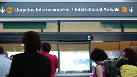 Awaiting international arrivals at airport Footage