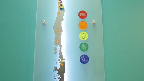 Chile map on teal bg Footage