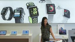 Looking around Apple store Footage