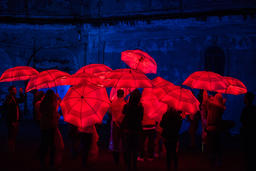 Colorful umbrellas illuminated by led lamps in the night Foto