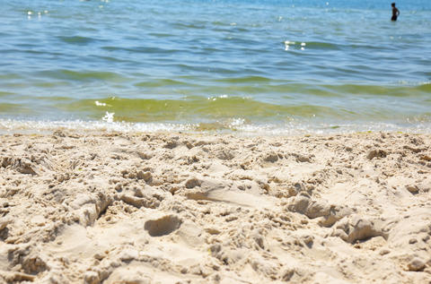View from the sandy shore to the sea Foto
