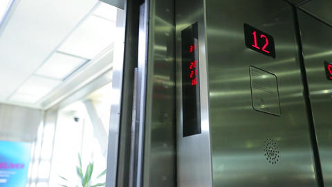 Elevator doors close Footage