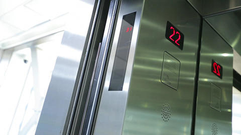 Elevator doors open and close Footage