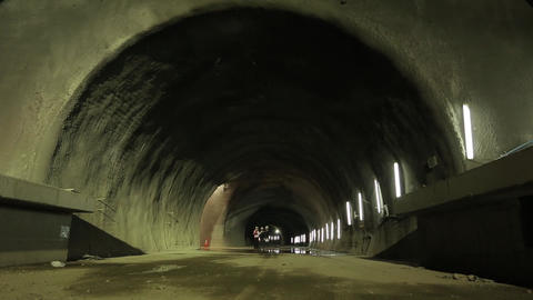 Workers in tunnel Footage