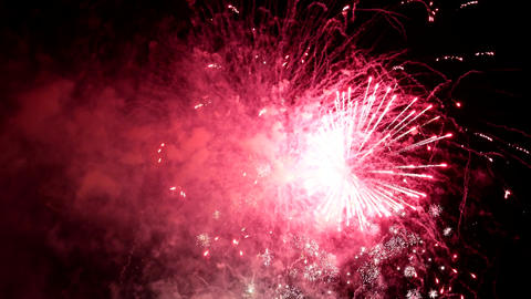 Motion of firework display on Canada day for celebrating Canada 150 years Live Action