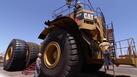 Mining drump trucks Footage