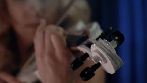 Closeup Of Girl Playing Violin Footage