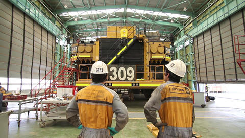Engineers on dump trucks Footage