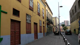Spain The Canary Islands Tenerife typical alley with yellow facades Footage