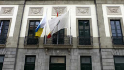 Spain The Canary Islands Tenerife government building with flags in Santa Cruz Footage
