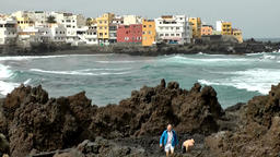 Spain The Canary Islands Tenerife houses at rocky coast and breakwaters Footage