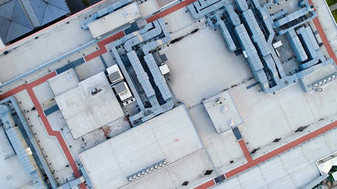 Roof of a large shopping center, ventilation and heating system Footage