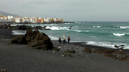 Spain The Canary Islands Tenerife volcanic rocky shore and black sand Footage