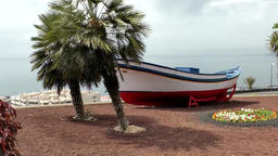 Spain The Canary Islands Tenerife boat on land in Los Gigantes city Footage