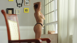 Beautiful girl Topless in a Thong. Sexy girl Footage