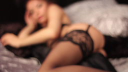 Silhouette sexy girls on the bed Footage