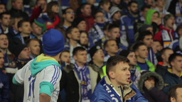 Football fans during a football match. People, crowd, football fans Footage