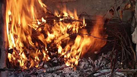Dry twigs burning, fire burning. Coals of wood burned. At first, the fire is sma Live Action
