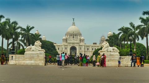 Wide Timelapse Of Victoria Memorial,Kolkata stock footage