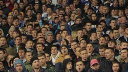 Grandstand stadium full of football fans shouting slogans Footage