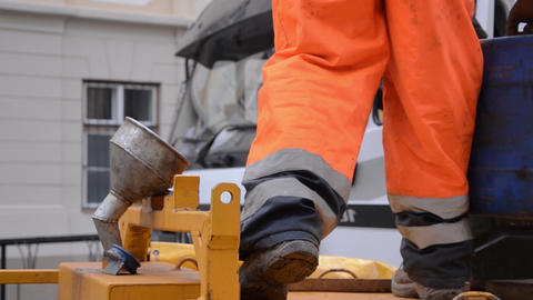 Man Fueling With Gasoline Drilling Equipment 3a stock footage