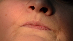 Senior old woman mouth wrinkle skin close up 1 Live Action