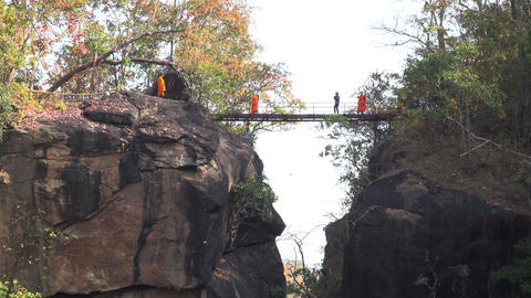 Monks in Ob Luang National Park_4K Footage