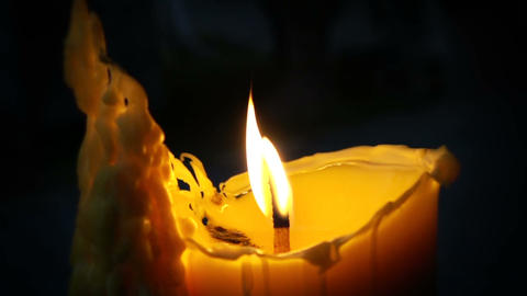 slowmotion video of a burning candle Footage