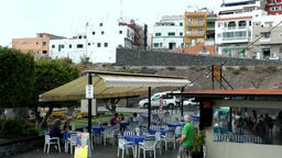 Spain The Canary Islands Tenerife restaurant on promenade of Los Gigantes Footage