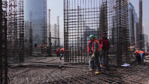Construction workers with mesh Footage