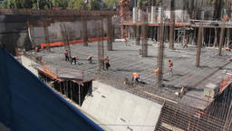 Construction workers and steel Footage