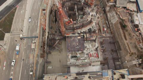 Construction site bird's eye Footage