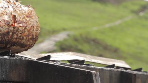 Wooden log on machine Footage