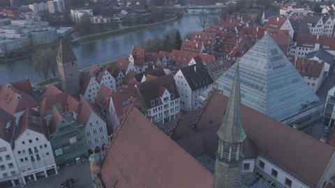 Ulm Library Metzgerturm Tower And Danube River With Drone At Sunrise Footage