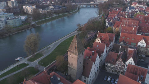 Ulm Metzgerturm Tower And Danube River With Drone At Sunrise Footage