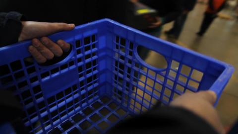 Hand basket POV Footage
