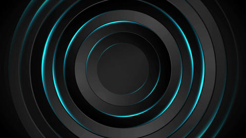 Abstract black and neon glowing blue circles video animation Animation
