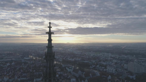 Ulm Minster Sunrise with Drone Footage